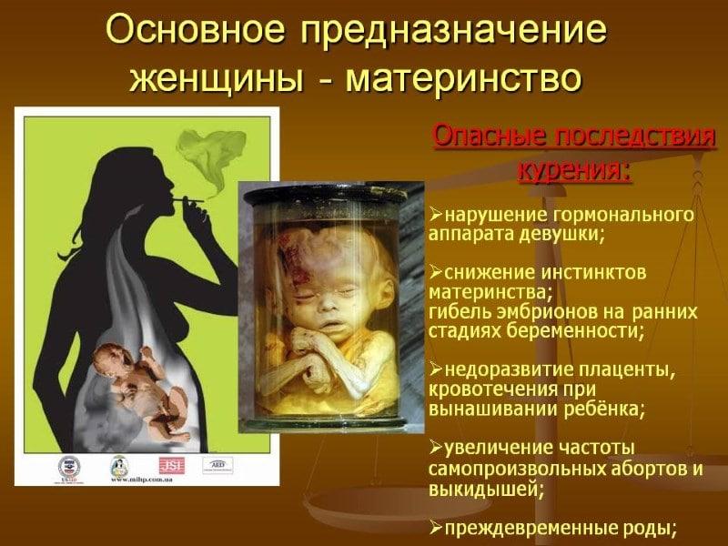 последствия курения на ранних сроках беременности