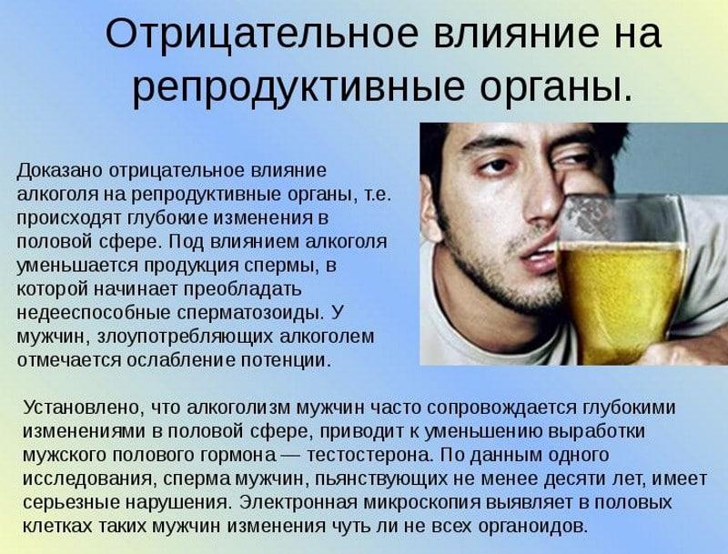 влияние алкоголя на сперму