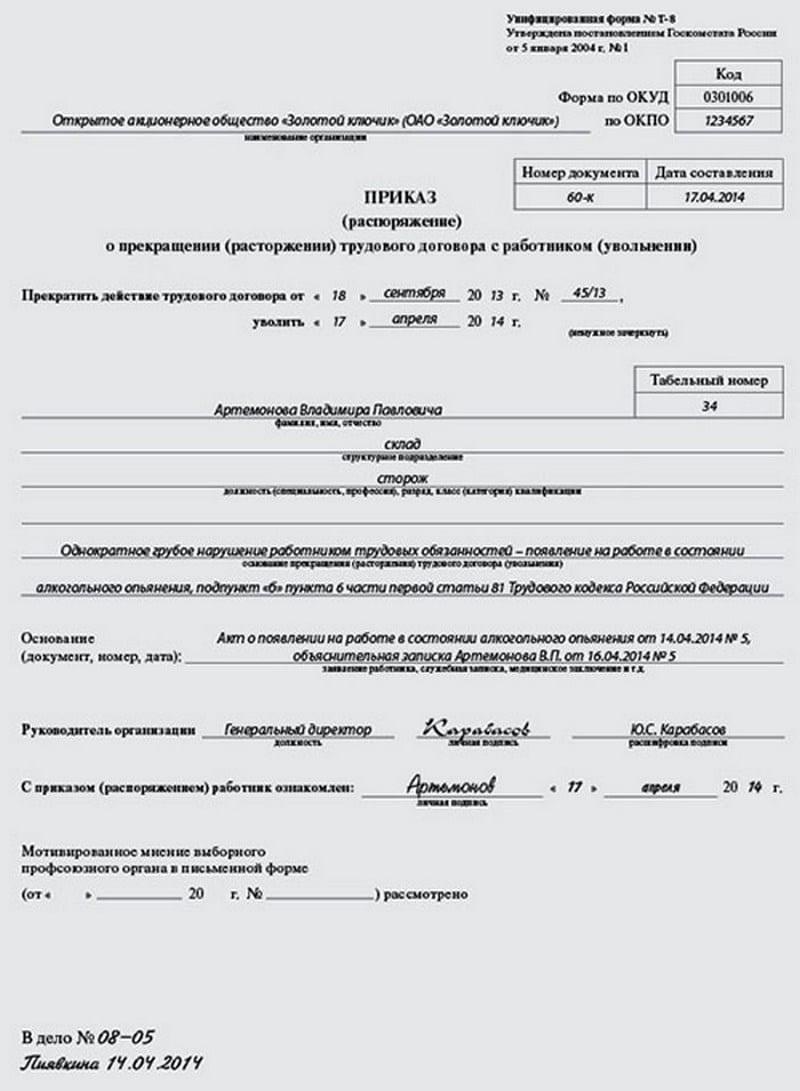 увольнение за пьянку на рабочем месте статья ТК РФ