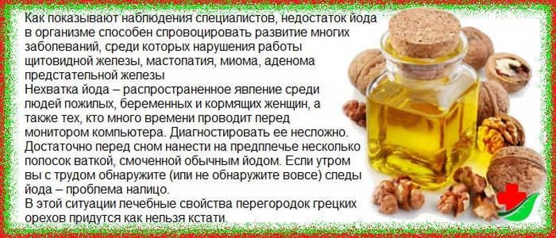 от чего помогает настойка на водке перегородок грецкого ореха